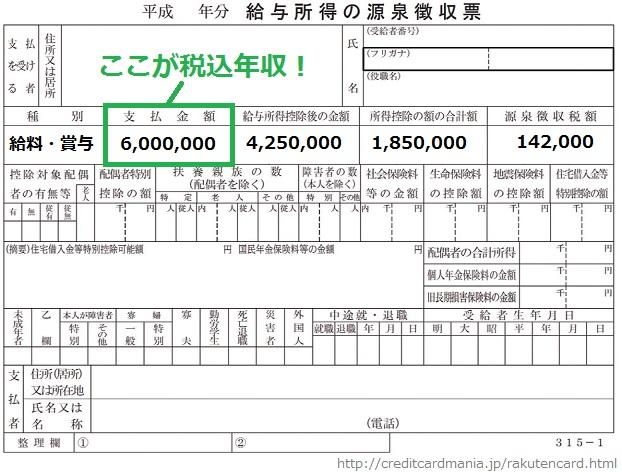 源泉徴収票と税込年収