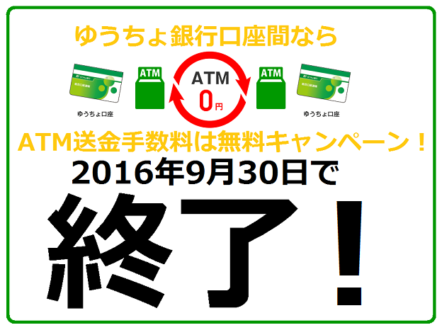 ATMを利用すればゆうちょ銀行口座同士の送金手数料は何度でも無料キャンペーンは2016年9月30日で終了