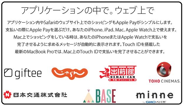 Apple Payが利用できるアプリやサイト一覧