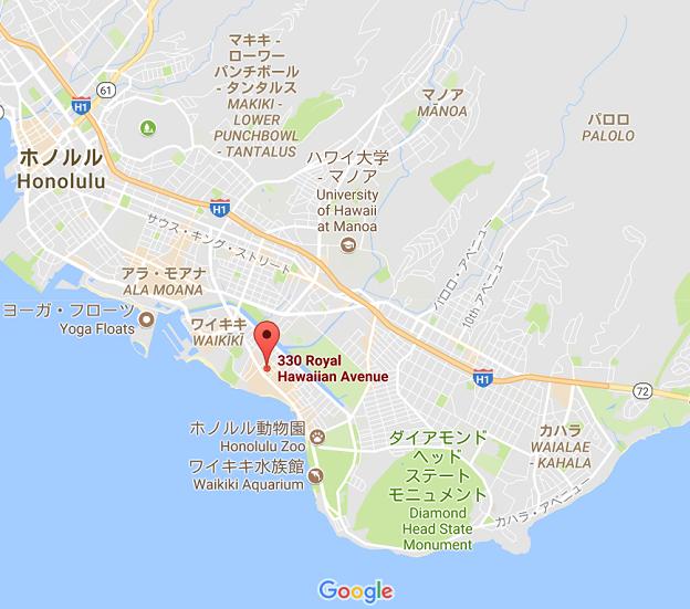楽天カードラウンジの場所とハワイ・ワイキキの周辺地図