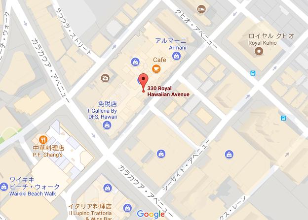 ワイキキのカラカウア通りの周辺地図