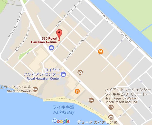 ハワイ・ワイキキの周辺地図