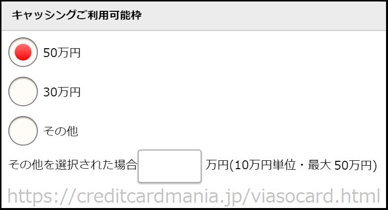 VIASOカードの審査の際のキャッシング枠