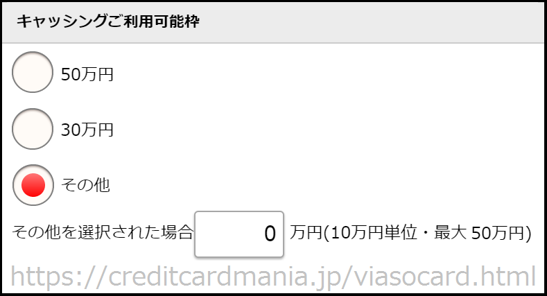VIASOカードの「キャッシング利用可能枠」でその他を選択し0万円に