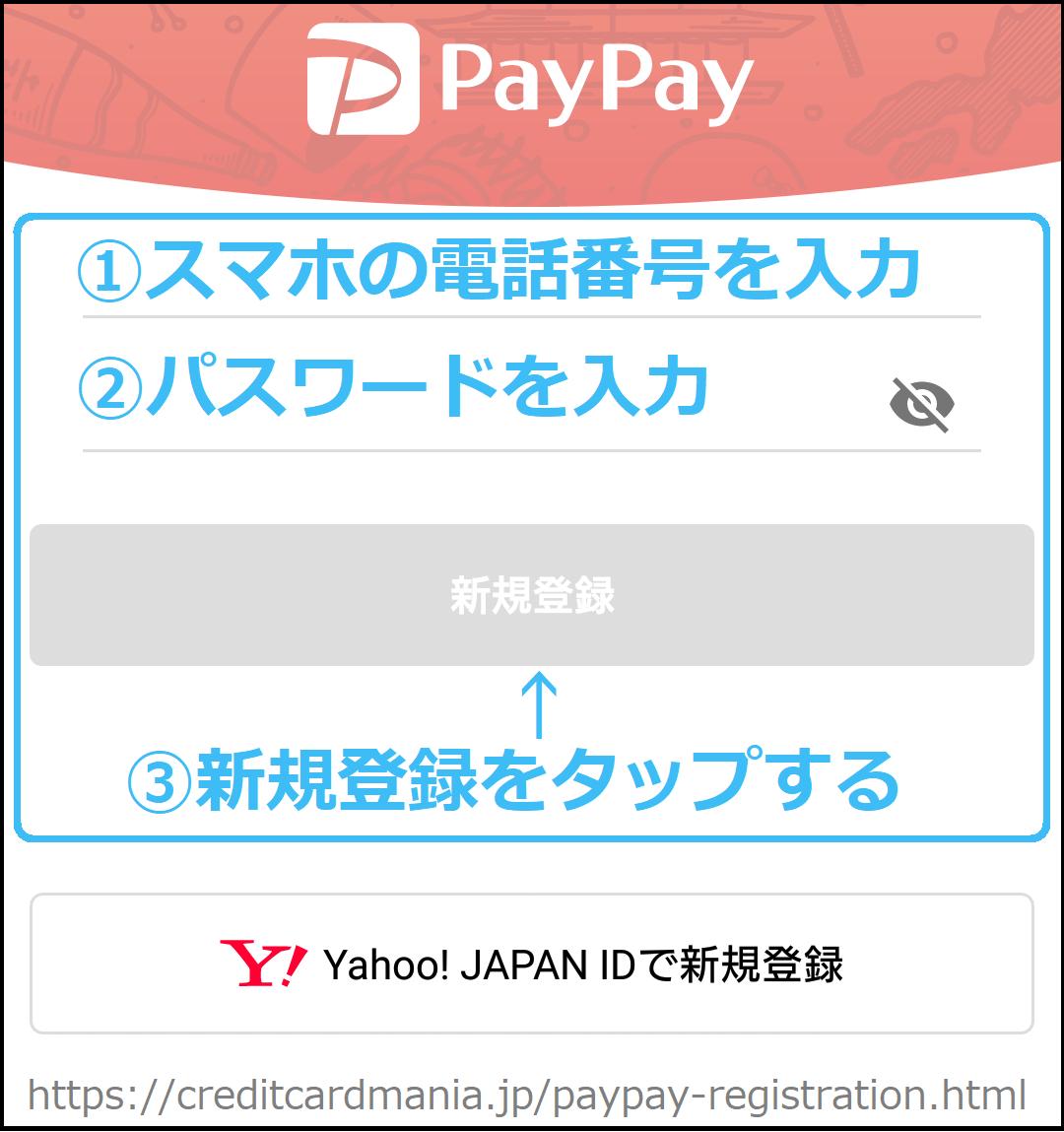 PayPayの新規登録(スマホの電話番号とパスワード編)