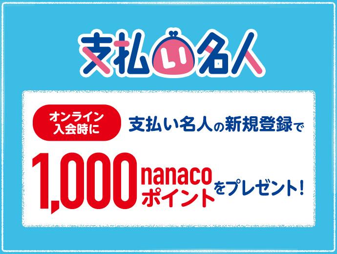 自動リボ登録(支払い名人)で1000ポイントキャンペーン