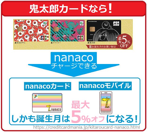 鬼太郎カード(JCB)ならnanacoチャージでき誕生月は最大5オフとなる