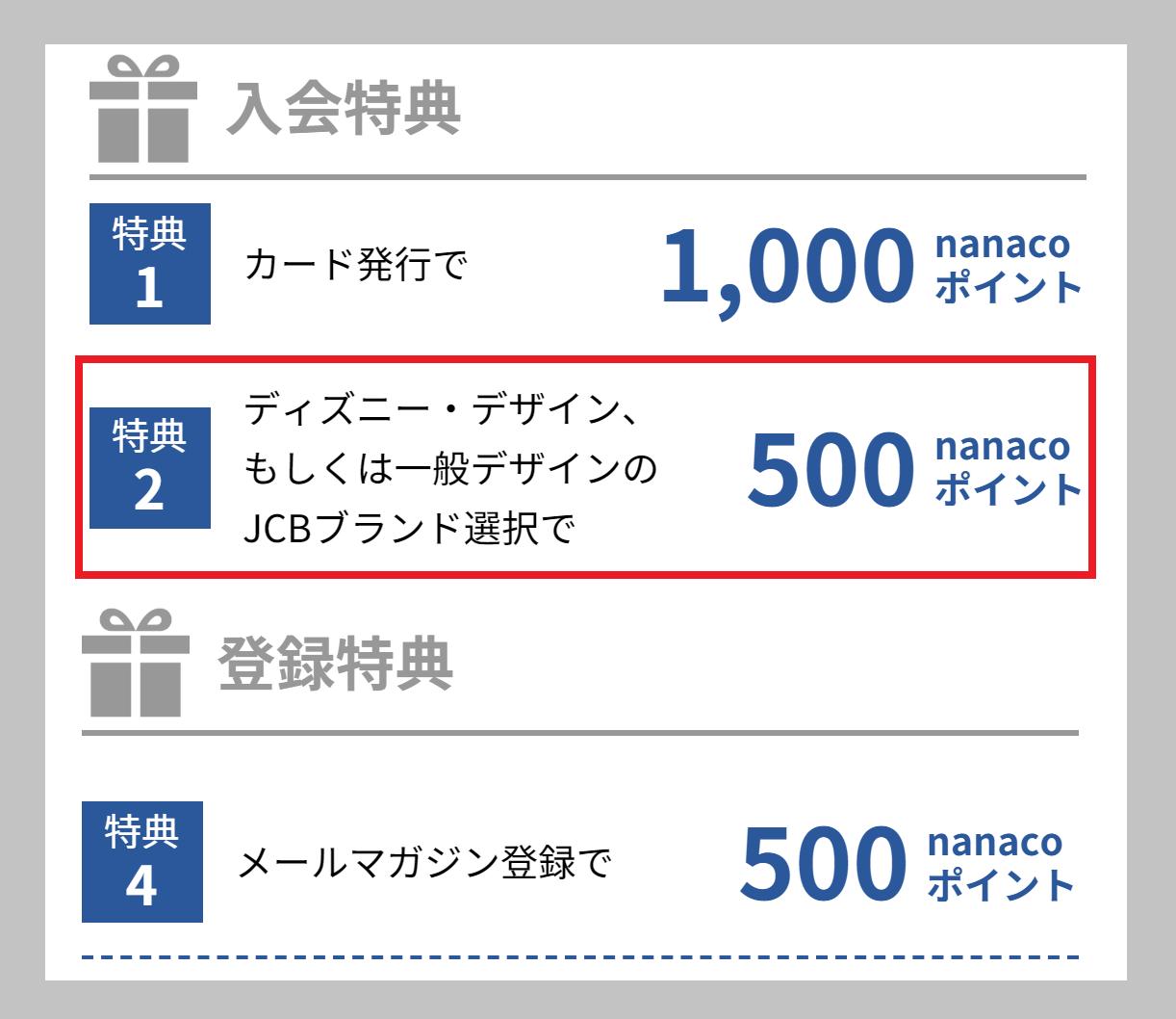 セブンカード・プラスはJCBブランド限定で入会特典が追加されている時期も